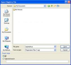 Registry Backup Dialog